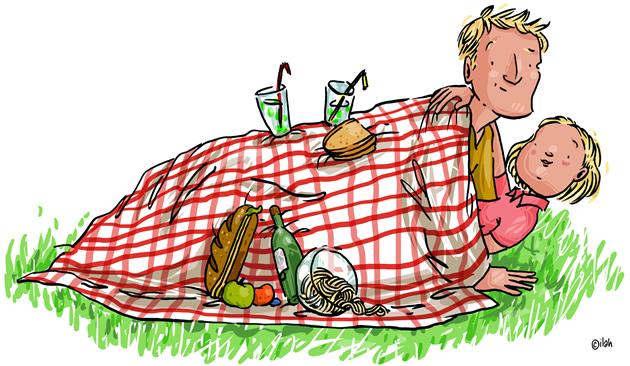Cartoon: koppel onder picknickdeken.