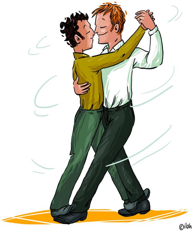 Cartoon: dansend koppel.